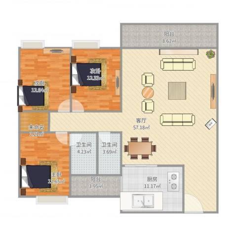 嘉禾新城3室1厅2卫1厨172.00㎡户型图