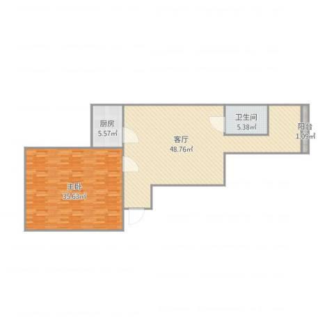 三才堂水清木华园2-1-12101室1厅1卫1厨128.00㎡户型图