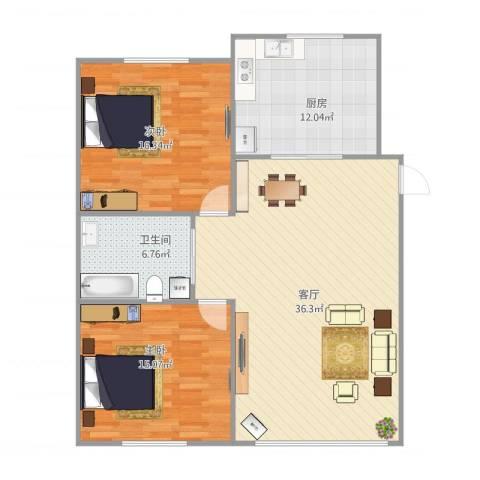 浅草绿阁六期2室1厅1卫1厨114.00㎡户型图