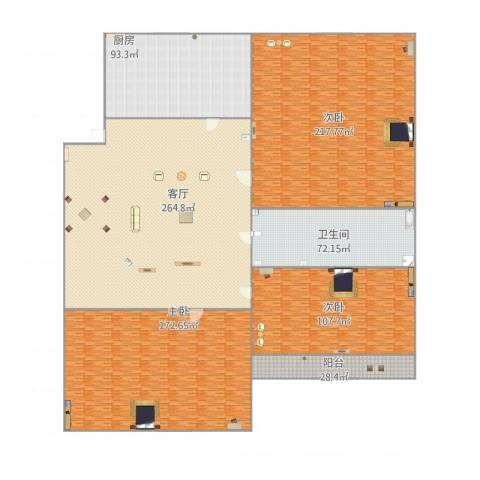 望园西里3室1厅1卫1厨1221.00㎡户型图