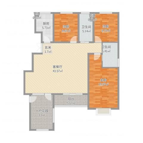 黄河龙城・半岛御境3室1厅2卫1厨160.00㎡户型图