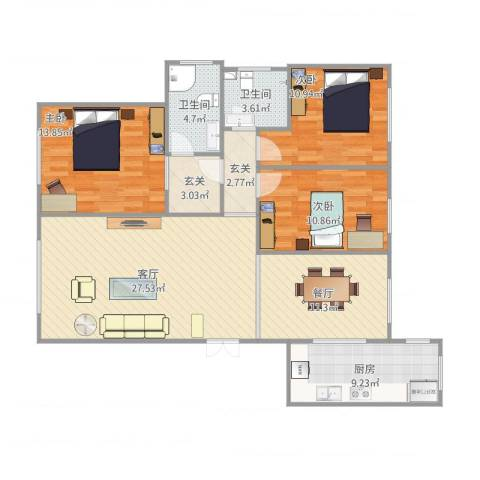 盟科涵舍3室2厅2卫1厨132.00㎡户型图