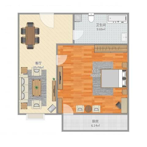 长盛小区1室1厅1卫1厨94.00㎡户型图