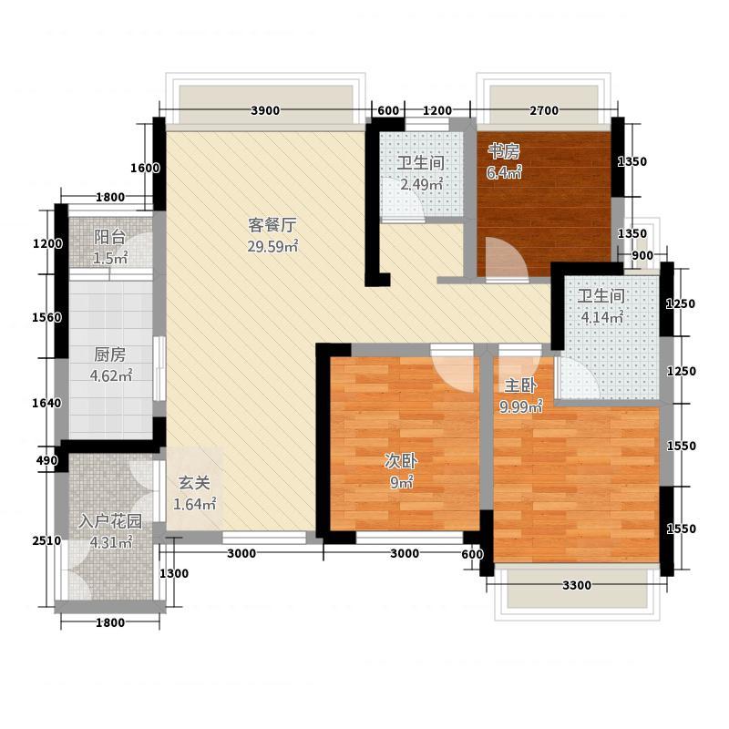 博邦・紫韵东城235.46㎡F户型3室2厅2卫1厨