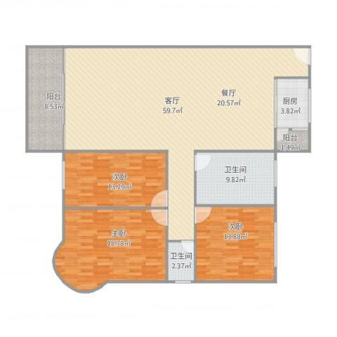 丽日玫瑰三区6座16023室1厅2卫1厨175.00㎡户型图