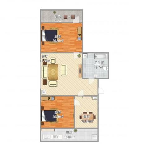 历山路单位宿舍2室2厅1卫1厨142.00㎡户型图