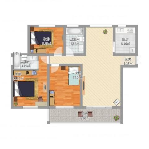 蓝柏湾3室1厅2卫1厨125.00㎡户型图