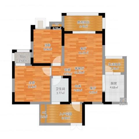 福康瑞琪曼国际社区2室1厅5卫3厨103.00㎡户型图