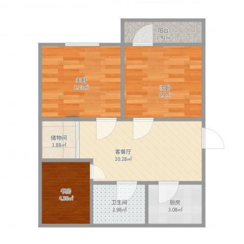 永林新村3室1厅1卫1厨57.00㎡户型图
