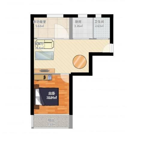 昌五小区1室1厅1卫1厨54.00㎡户型图