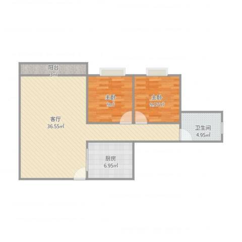 美林美居2室1厅1卫1厨94.00㎡户型图