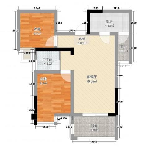 交大绿岭2室1厅1卫1厨72.00㎡户型图