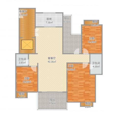 远洋城万象花园3室1厅2卫1厨182.00㎡户型图