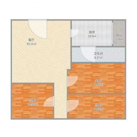 同济广场3室1厅1卫1厨150.00㎡户型图