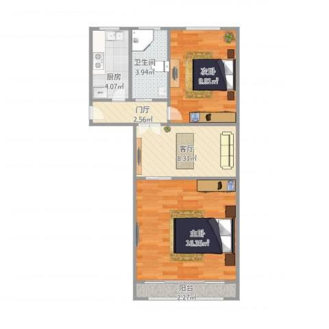 南泉苑2室1厅1卫1厨65.00㎡户型图