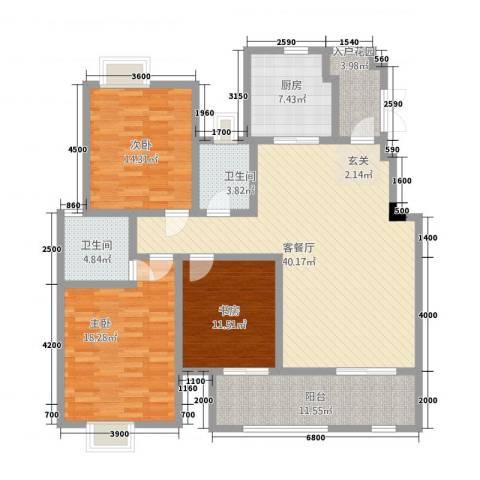 匀上・香格里拉3室1厅2卫1厨214.00㎡户型图