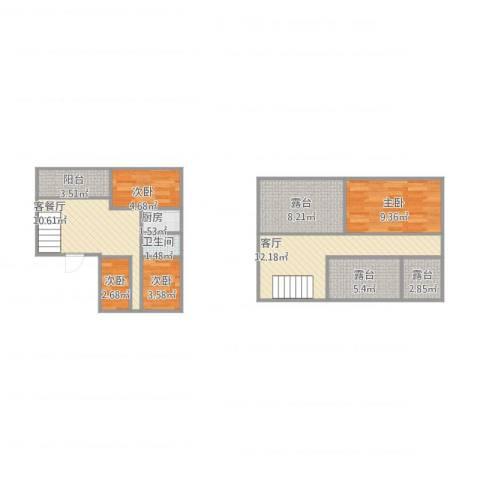 颐家春天4室2厅1卫1厨92.00㎡户型图