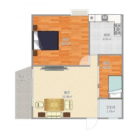 白鹭苑2室1厅1卫1厨77.00㎡户型图