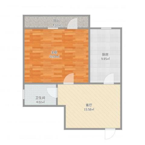 康桥里1室1厅1卫1厨73.00㎡户型图