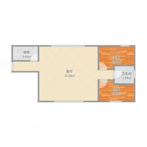 河畔花园2室1厅1卫1厨66.00㎡户型图