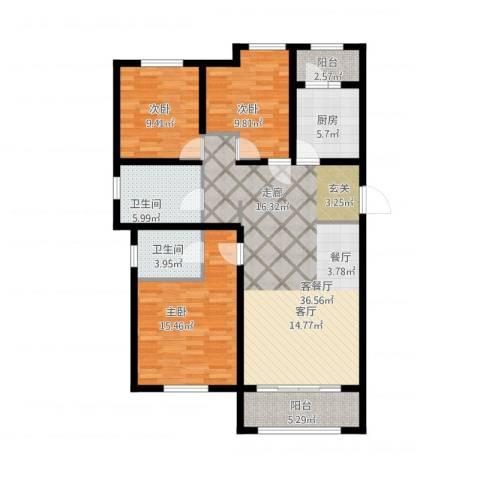 喜蜜湾3室1厅2卫1厨136.00㎡户型图