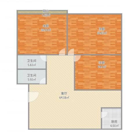 艮山福居3室1厅2卫1厨225.00㎡户型图