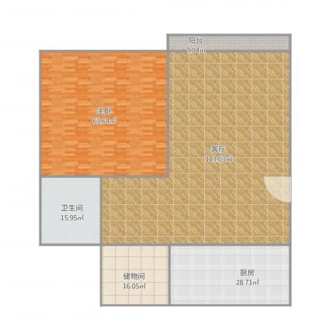 温馨家园1室1厅1卫1厨317.00㎡户型图