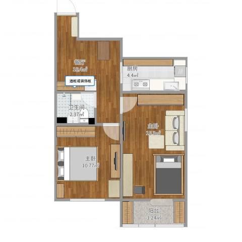建设部大院2室1厅1卫1厨64.00㎡户型图