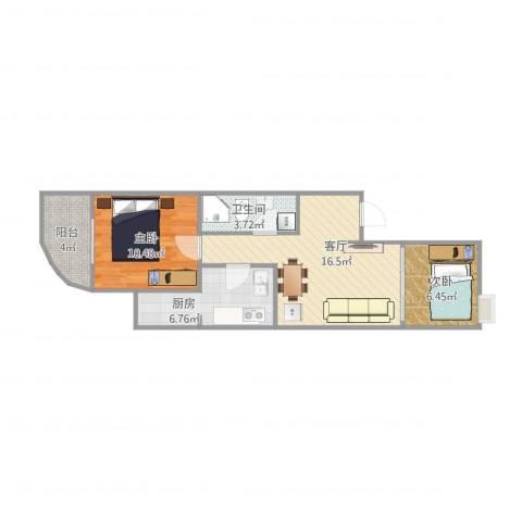 新街口西里三区2室1厅1卫1厨66.00㎡户型图