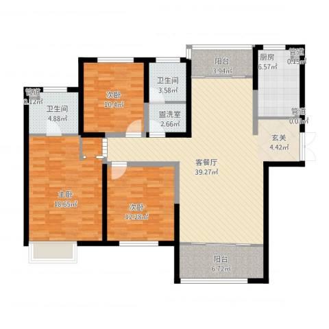 杏坛中心城3室2厅5卫1厨156.00㎡户型图