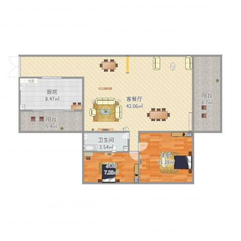 江南名居二期7022室1厅1卫1厨116.00㎡户型图