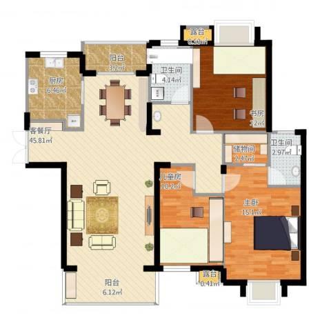 弘阳上城3室1厅2卫1厨144.00㎡户型图