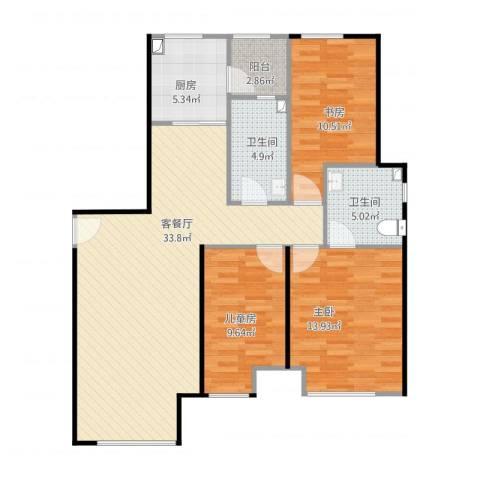 金地西沣公元3室1厅2卫1厨117.00㎡户型图