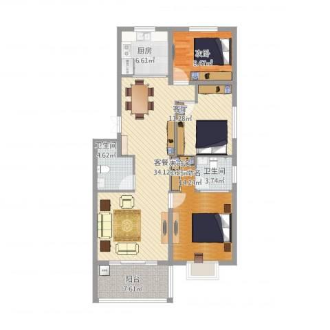金满华府(唐)1室2厅4卫1厨131.00㎡户型图