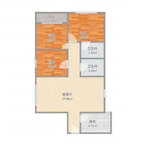百事佳花园3室1厅2卫1厨82.00㎡户型图