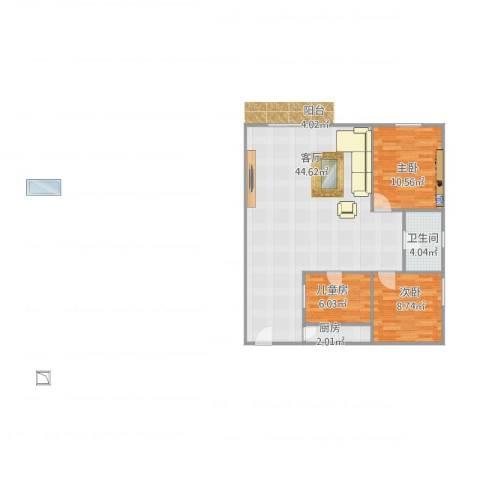 华港花园3室1厅1卫1厨101.00㎡户型图