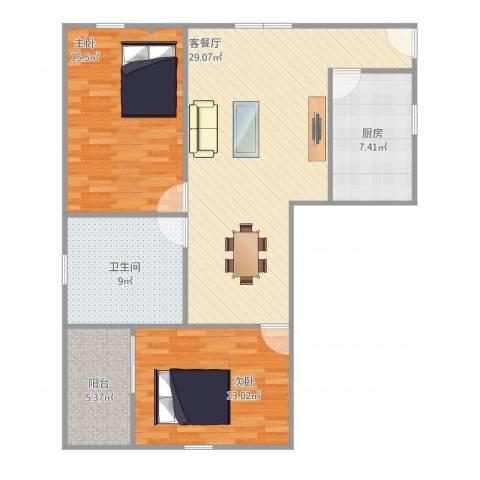 翠松楼2室1厅1卫1厨106.00㎡户型图