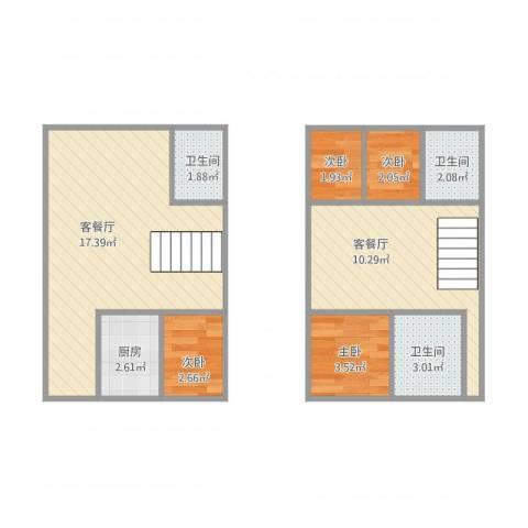 文化名园4室2厅3卫1厨66.00㎡户型图