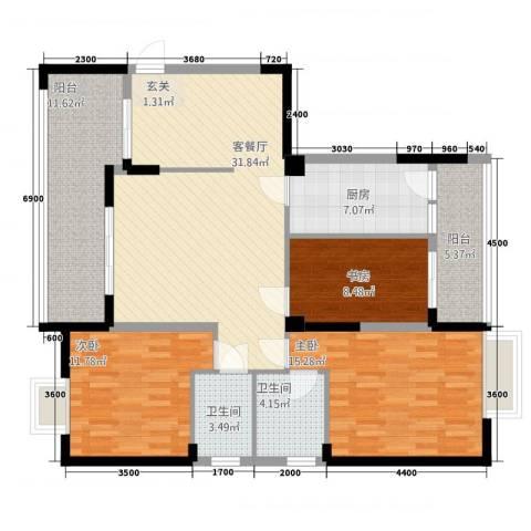 民福苑三期荷风苑3室1厅2卫1厨1118.00㎡户型图