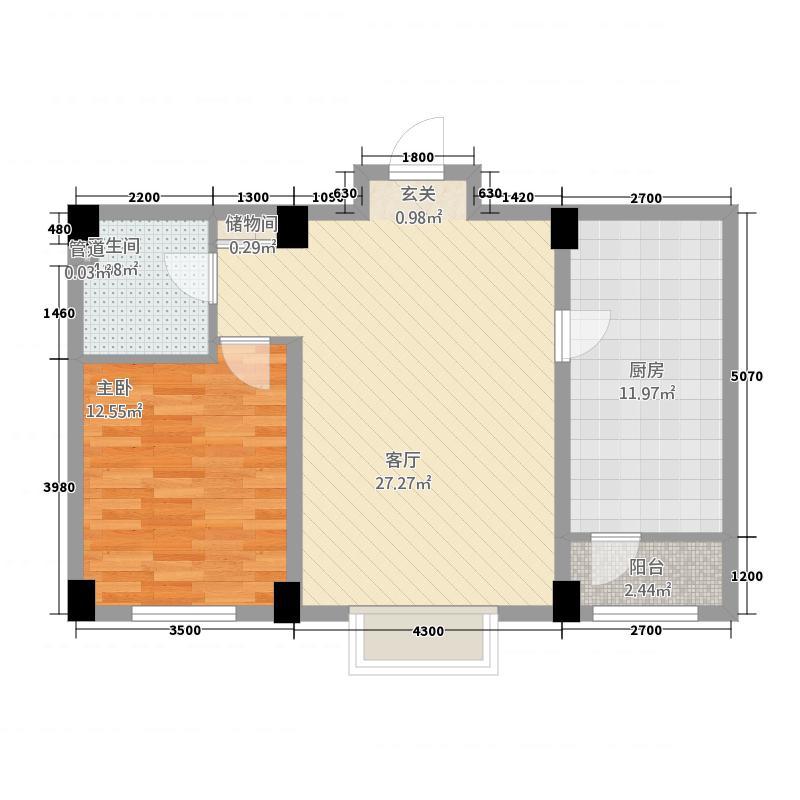 金地花园31275.22㎡B3#户型1室2厅1卫1厨