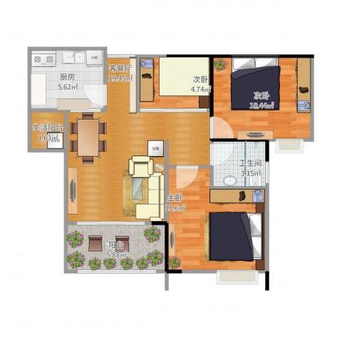 荧鸿城二期3室1厅1卫1厨85.00㎡户型图