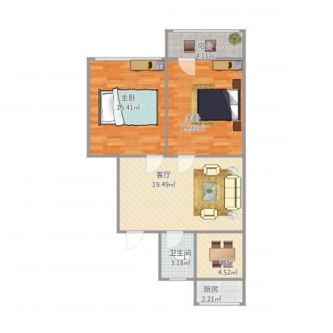 老屯铁路小区2室2厅1卫1厨87.00㎡户型图