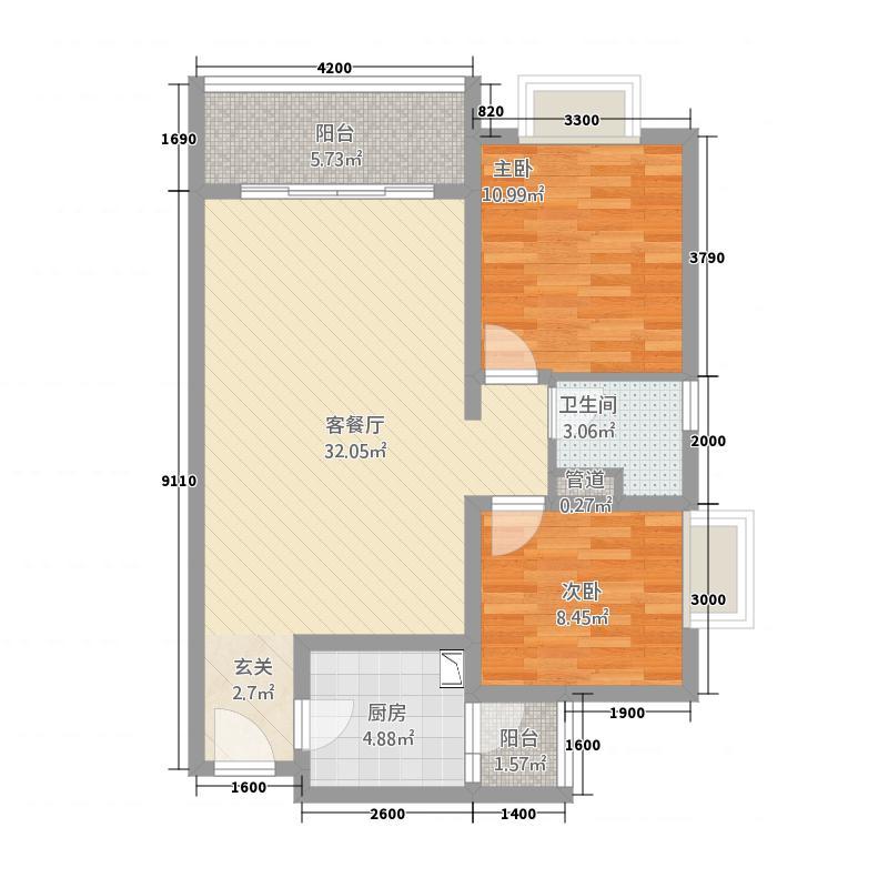洱海天域国际公寓88.33㎡黄金海岸-D户型2室2厅1卫1厨