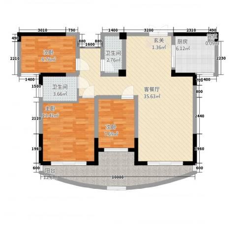 高新钦园3室1厅2卫1厨361115.00㎡户型图