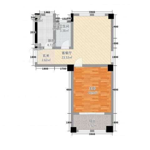 高新钦园1室1厅1卫1厨8888.00㎡户型图