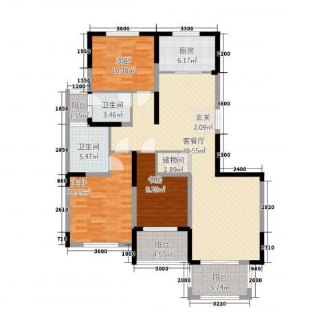 高新钦园3室1厅2卫1厨37383136.00㎡户型图