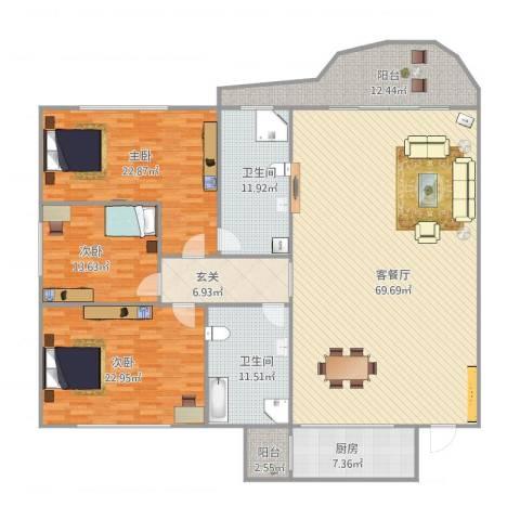 丽景花园3室1厅2卫1厨240.00㎡户型图