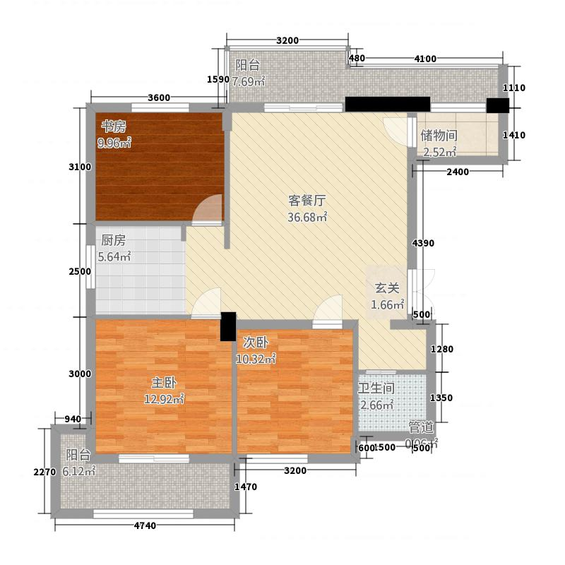 西锦御园岸琴苑1114.20㎡A1户型3室2厅1卫1厨