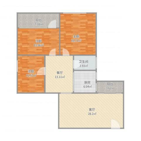玉带大厦15063室2厅1卫1厨144.00㎡户型图