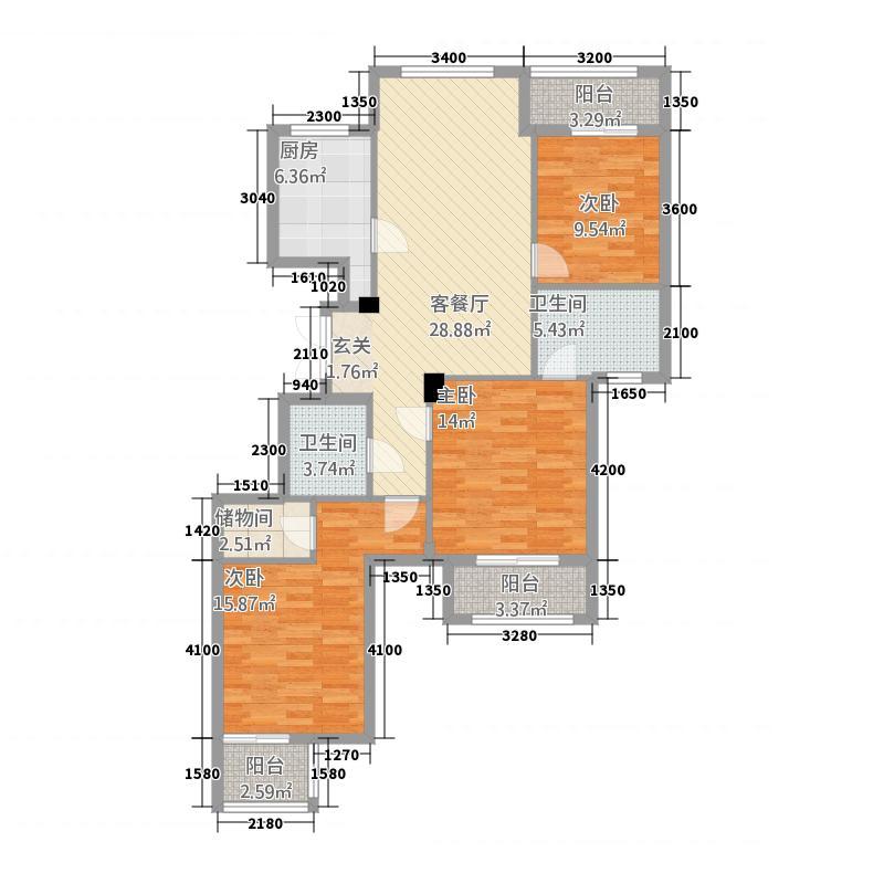 西锦御园岸琴苑3128.20㎡A3户型3室2厅2卫1厨